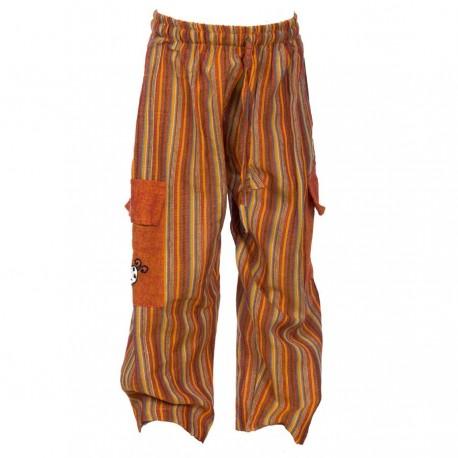 Pantalon Népal rayures orange