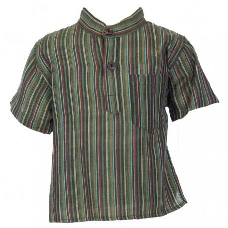 Camisa bebe kurta cuellomao rayada caqui    6meses