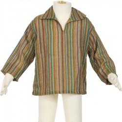Boy short sleeves shirt maocollar kurta stripe army     10years