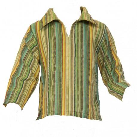 Boy short sleeves maocollar kurta stripe army     14years