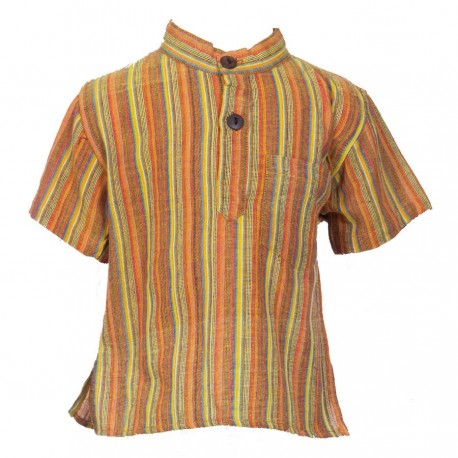Baby short sleeves shirt maocollar kurta stripe orange     12mon