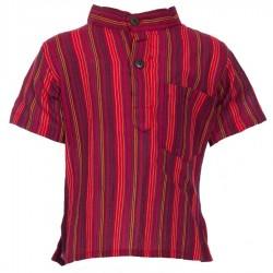 Camisa chico kurta cuellomao rayada rojo    8anos