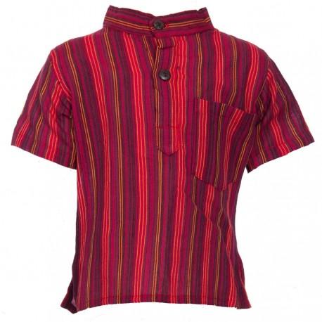 Boy short sleeves shirt maocollarkurta stripe red     8years