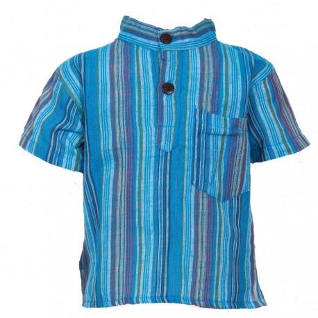 Boy short sleeves shirt maocollar kurta stripe turquoise     6ye