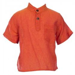 Chemise népalaise coton unie orange     18mois