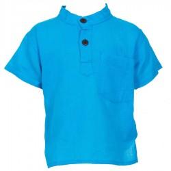 Chemise coton garçon unie turquoise     6ans