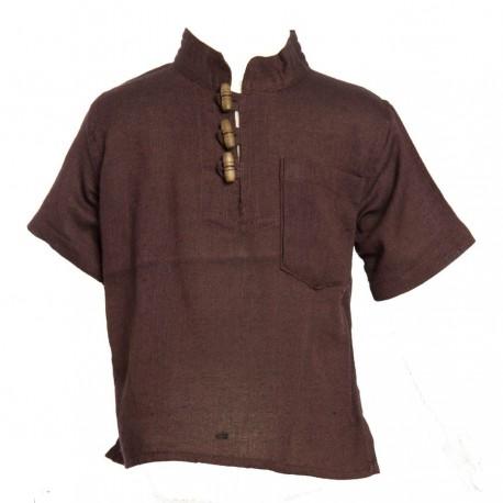 Camisa etnica mangas cortas cuelloMao unida marron