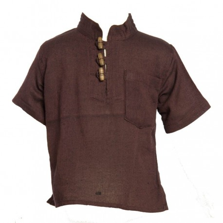 Ethnic short sleeves shirt Maocollar plain brown