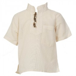 Ethnic short sleeves shirt Maocollar plain white
