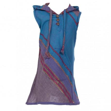 Vestido indio capucha puntiaguda azul    14anos