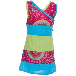 Heart crossed kid dress indian cotton pink turquoise lemon