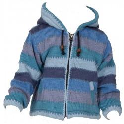 Veste népalaise garcon bleu clair 8ans