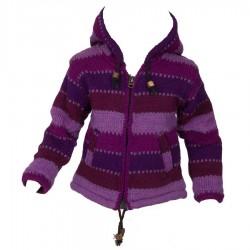Veste fille Népal violette 10 ans