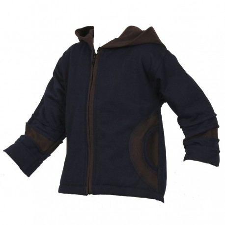 Dark blue and brown lined cotton jumper jacket   12months