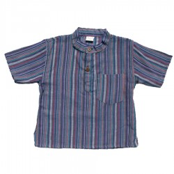 Baby short sleeves shirt maocollar kurta stripe blue     18month