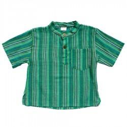 Camisa chico kurta cuello mao rayada azul    14anos
