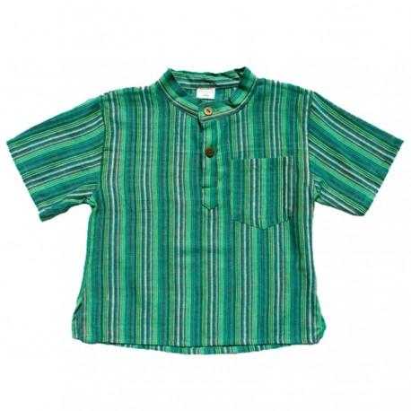 Chemise kurta coton rayée verte