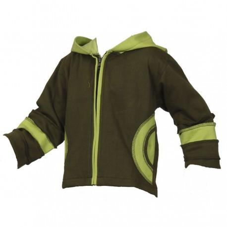 Chaqueta jersey algodon forrado verde caqui y limon 2anos