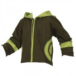 Chaqueta jersey algodon forrado verde caqui y limon 4anos