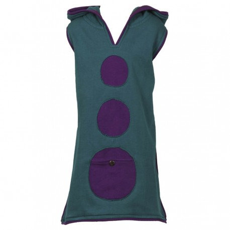 Petrol blue sprite hood tunic dress 12months