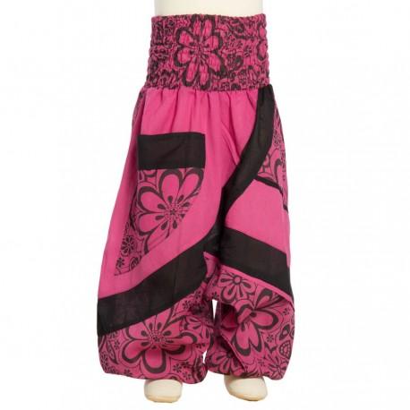 Pantalon afgano algodon estampado flora smock rosa