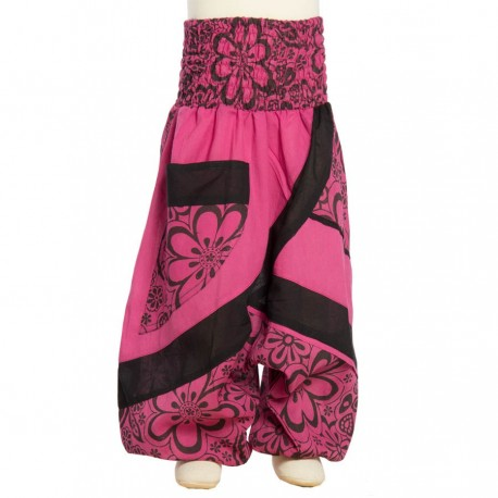 Printed cotton afghan trouser flower rubber waist pink