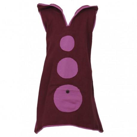 Vestido tunica capucha diablillo violeta   8anos