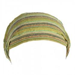 Bandeau coton népalais rayé vert anis
