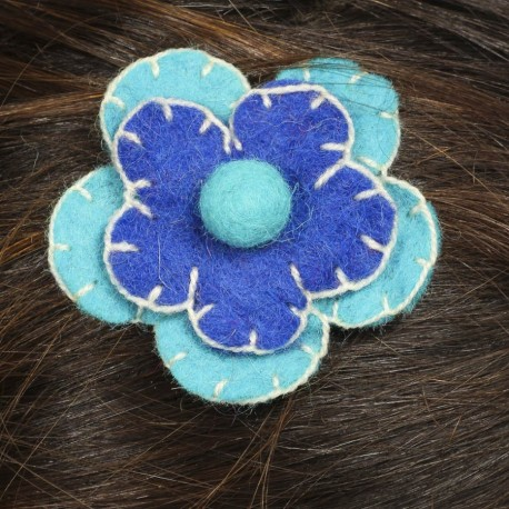 Hair kid clip pin flower felt embroidered blue