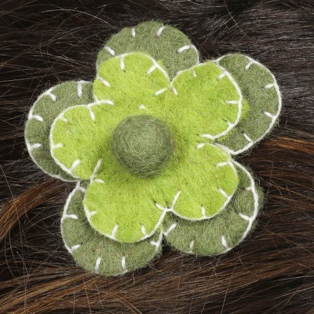 Hair kid clip pin flower felt embroidered green