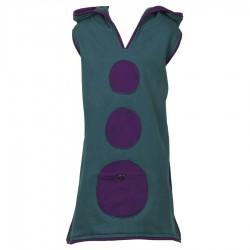 Vestido tunica capucha iablillo azul petroleo - 6meses