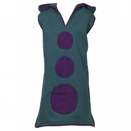 Petrol blue sprite hood tunic dress - 6months