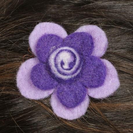 Hair kid clip pin flower felt spiral purple