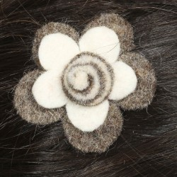 Hair kid clip pin flower felt spiral white