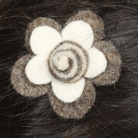 Hair kid clip pin flower felt spiral white