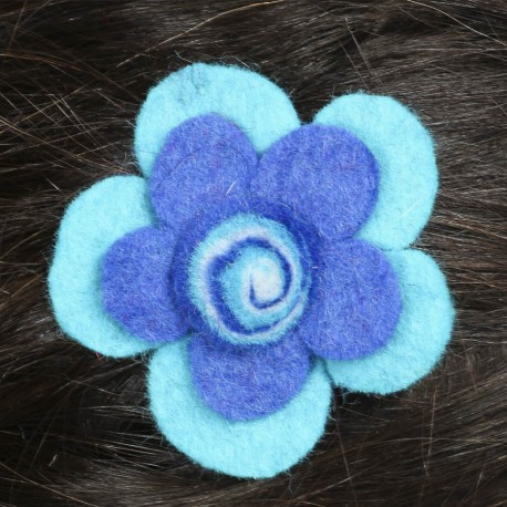hair kid clip pin flower felt spiral blue