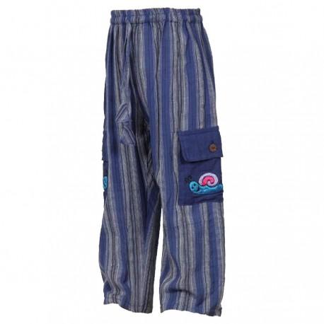 Pantalon rayé baba cool bleu marine