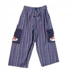 Pantalon rayé garçon bleu