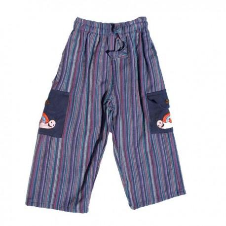 Pantalon rayé garçon bleu 6 mois