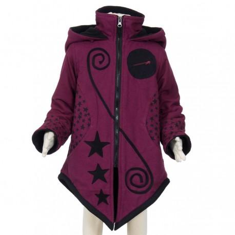 Manteau ethnique fille capuche pointue prune
