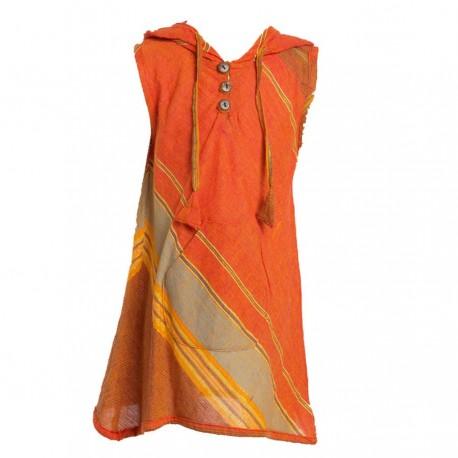 Vestido indio capucha puntiaguda naranja    8anos
