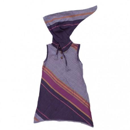Vestido indio capucha puntiaguda ciruela    4anos