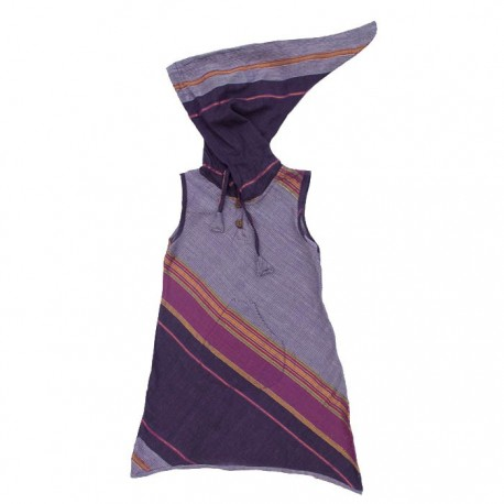 Vestido indio capucha puntiaguda ciruela    12anos