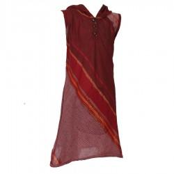 Vestido indio capucha puntiaguda rojo violaceo    12anos