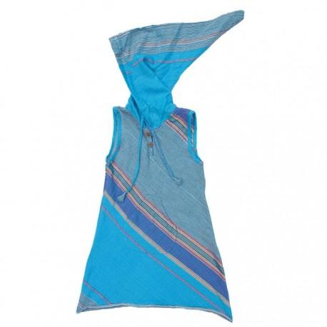 Vestido indio capucha puntiaguda turquesa    10anos