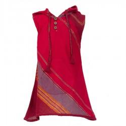 Robe asymétrique coton brillant rouge     10ans