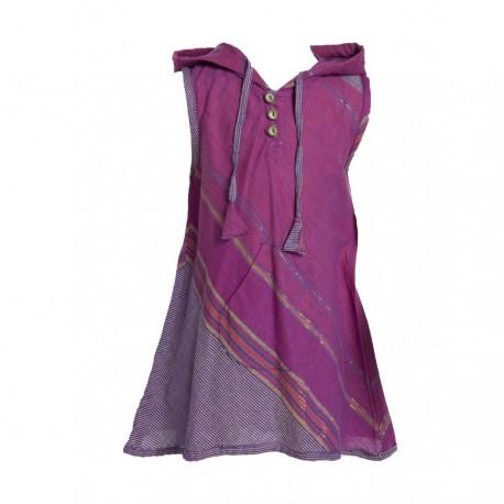 Vestido indio capucha puntiaguda violeta    12anos