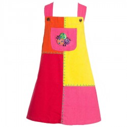 Patchwork overall dress with ladybird   2years