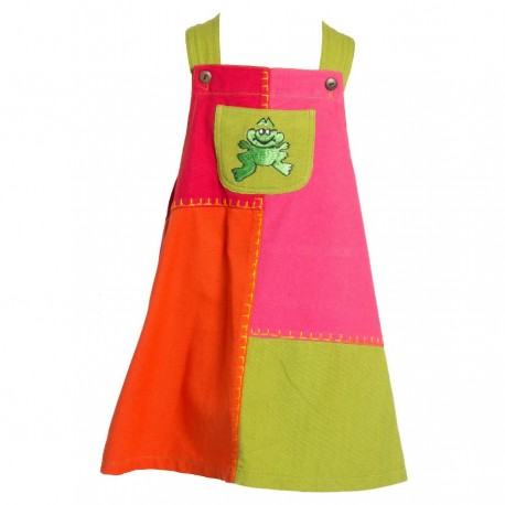 Robe salopette patchwork grenouille