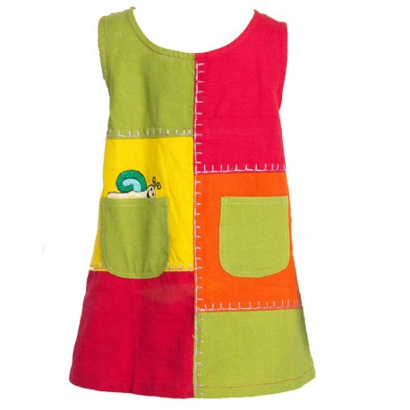 Patchwork trapeze dress with snail   6months